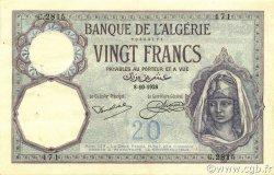 20 Francs type 1912 ALGÉRIE  1928 P.078b SUP