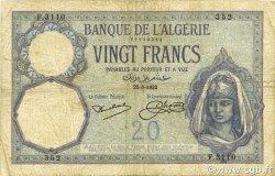 20 Francs type 1912 ALGÉRIE  1932 P.078b pr.TB