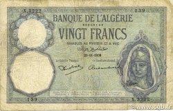 20 Francs type 1912 ALGÉRIE  1938 P.078c B+