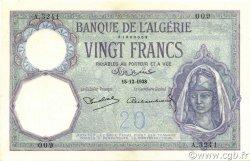 20 Francs type 1912 ALGÉRIE  1938 P.078c pr.SPL