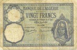 20 Francs type 1912 ALGÉRIE  1939 P.078c B+