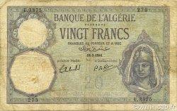 20 Francs type 1912 ALGÉRIE  1941 P.078c B+