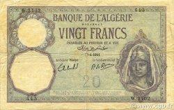 20 Francs ALGÉRIE  1941 P.078c pr.TB