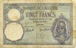 20 Francs type 1912 ALGÉRIE  1941 P.078c B