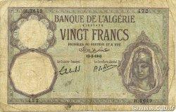 20 Francs ALGÉRIE  1942 P.078c B+