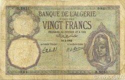 20 Francs type 1912 ALGÉRIE  1942 P.078c B+