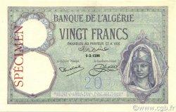 20 Francs ALGÉRIE  1912 P.078s NEUF
