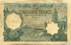 50 Francs type 1912 vert ALGÉRIE  1920 P.080a B+
