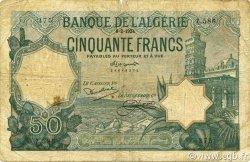 50 Francs type 1912 vert ALGÉRIE  1924 P.080a B