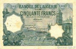 50 Francs type 1912 vert ALGÉRIE  1928 P.080a pr.TTB