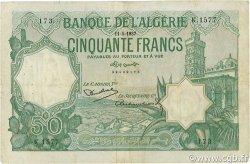 50 Francs type 1912 vert ALGÉRIE  1937 P.080a pr.TTB