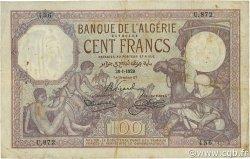 100 Francs type 1920 ALGÉRIE  1929 P.081b TB