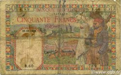 50 Francs type 1938 filigrane tête ALGÉRIE  1938 P.084 B