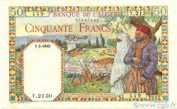 50 Francs type 1938 filigrane tête ALGÉRIE  1945 P.084 SUP+