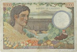 1000 Francs type 1940 filigrane tête ALGÉRIE  1942 P.086 TTB