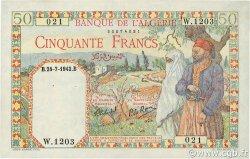 50 Francs type 1938 filigrane lettres ALGÉRIE  1942 P.087 pr.SPL