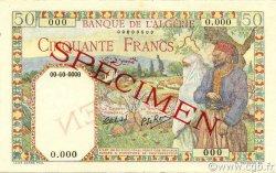 50 Francs type 1938 filigrane lettres ALGÉRIE  1942 P.087s pr.NEUF