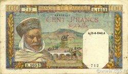100 Francs type 1938 filigrane lettres ALGÉRIE  1942 P.088 TTB