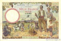 1000 Francs type 1940 filigrane lettres ALGÉRIE  1942 P.089 TTB+
