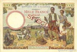 1000 Francs type 1940 filigrane lettres ALGÉRIE  1942 P.089s pr.NEUF