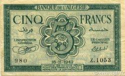 5 Francs ALGÉRIE  1942 P.091 TTB