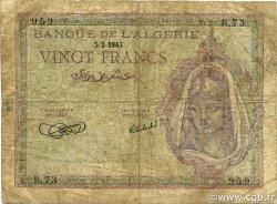 20 Francs type 1943 ALGÉRIE  1943 P.092a B+
