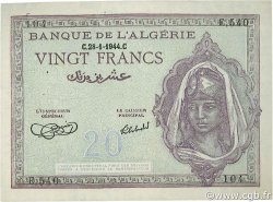 20 Francs ALGÉRIE  1944 P.092a SUP