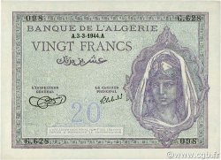 20 Francs type 1943 ALGÉRIE  1944 P.092a pr.NEUF