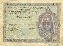 20 Francs ALGÉRIE  1944 P.092a TB