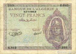 20 Francs type 1943 ALGÉRIE  1944 P.092a TB à TTB