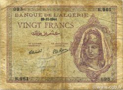 20 Francs type 1943 ALGÉRIE  1944 P.092b B à TB
