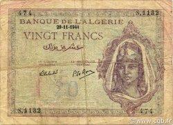 20 Francs type 1943 ALGÉRIE  1944 P.092b TB