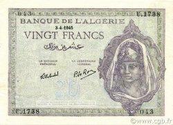 20 Francs ALGÉRIE  1945 P.092b SUP+