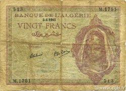 20 Francs ALGÉRIE  1945 P.092b B+