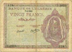 20 Francs type 1943 ALGÉRIE  1945 P.092b TB