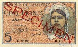5 Francs type 1944 ALGÉRIE  1944 P.094s pr.NEUF