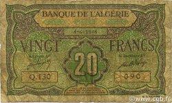 20 Francs type 1946 ALGÉRIE  1948 P.103 B