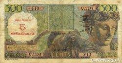 5 NF sur 500 Francs type 1952 modifié 1959 ALGÉRIE  1956 P.111 B à TB