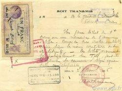 1 Franc ALGER ALGÉRIE ALGER 1914 JP.137.01 TTB