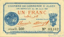 1 Franc ALGÉRIE Alger 1921 JP.137.22 NEUF