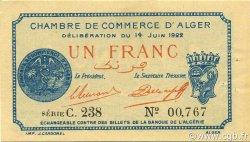 1 Franc ALGER ALGÉRIE ALGER 1922 JP.137.24 SUP