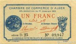 1 Franc ALGER ALGÉRIE ALGER 1923 JP.137.26 SPL