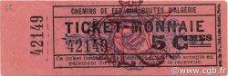 5 Centimes Ticket Monnaie ALGÉRIE Cfra 1920 JPCV.14 pr.NEUF