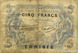 5 Francs type 1873 TUNISIE  1924 P.01 pr.TB