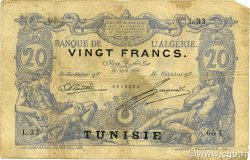 20 Francs type 1873 TUNISIE  1908 P.02a TB