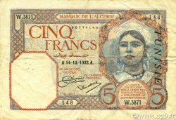 5 Francs type 1924 TUNISIE  1932 P.08a TTB