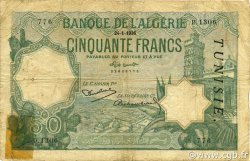 50 Francs type 1912 TUNISIE  1936 P.09 B+