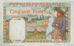 50 Francs filigrane tête TUNISIE  1945 P.12a SPL