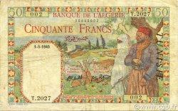 50 Francs filigrane lettres TUNISIE  1945 P.12b TTB