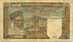 100 Francs type 1938 filigrane lettres TUNISIE  1942 P.13b pr.TB